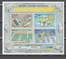 Palau 1991,4V In Block,giant Clam,doopvontschelp,tridacna Gigas,MNH/Postfris(L3427) - Schelpen