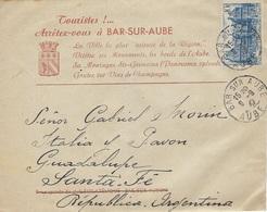 TARIF 1 FÉVRIER 1946 N°760 Lettre Pour L'étranger Bar-sur-Aube 9 Septembre 1947 Pour Santa-Fé - Tarifs Postaux