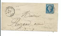 N° YT 22 Sur Lettre De St Marcellin Pour Valence Drome 1867 - Postmark Collection (Covers)