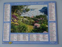 Almanach Du Facteur 2009 Recto Bord De Mer Jardin Fleuris Verso  Velo Devant Des Hortensias En Fleurs - Calendriers