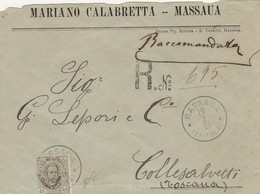 Eritrea Italiana 1893/1899 - 45 Cent.verde Oliva - Isolato Su Busta - Sassone N.18 - Marcofilía
