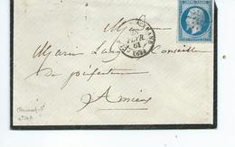 N° YT 14A  Sur Lettre De Clermont Ferrand Pour Amiens  1861 - Marcophilie (Lettres)