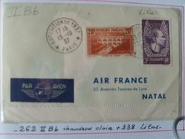 """Feuillet """"tour Du Monde """"en 36 Jours AIr FRANCE 1937 Avec 262 II B B Et 338 Lilas Sur Dépliant Illustré Avec Affrts Div. - France"""
