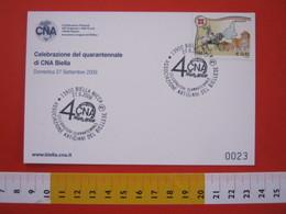 A.06 ITALIA ANNULLO - 2009 BIELLA 40 ANNI ASSOCIAZIONE ARTIGIANI DEL BIELLESE CARD MANIFESTO - Professioni