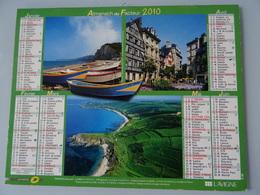 Almanach Du Facteur 2010 Recto  Multi Vues étretat, Rouen ,76 Et  Gouy 50 Verso  Ploumanach 22 Belle Ile 56 Quimperlé 29 - Calendriers