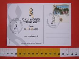 A.06 ITALIA ANNULLO - 2009 ZUBIENA BIELLA CAMPIONATO MONDIALE CERCATORI ORO GOLD CARD TOTEM - Minerali