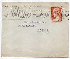 Grèce-1967--Lettre De Athènes Pour PARIS (France)--timbre Seul Sur Lettre--cachet - Briefe U. Dokumente