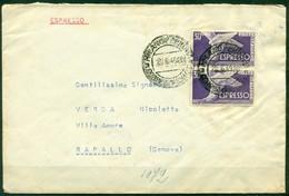 STORIA POSTALE - V9816 ITALIA REPUBBLICA 1949 Espresso Affrancato Con Democratica Espresso 30 L. X 2, Da Milano 20.6.49 - 1946-60: Storia Postale