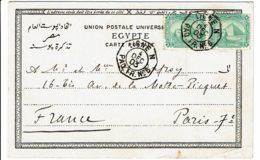 """1903 - Poste Maritime - Ligne D'Indochine - Cachet Octogonal """"LIGNE N - PAQ. FR. N° 6"""" - 2 Tp Poste égyptienne N° 37 - Égypte"""