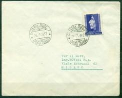 STORIA POSTALE - Z131 ITALIA REPUBBLICA 1952 Lettera Affrancata Con Savonarola ISOLATO, Da Catania 26.9.52 Per Milano, - 1946-60: Marcophilia