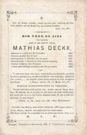 E.H. Mathias DECKX - °Rethij (Retie) 1800 - Overleden In Ophem (Meise) 1869 - Décès