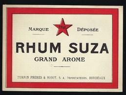 Ancienne Etiquette  Rhum  Suza Turpin Frères & Riout Sa Importateur Bordeaux - Rhum