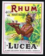 """Ancienne Etiquette  Rhum Lucéa Martinique  Bordeaux Imp Wetterwald """"femme, Plateau Verres"""" - Rhum"""