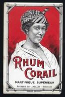 """Ancienne Etiquette  Rhum Corail  Martinique Supérieur  Rhumerie Des Antilles Bordeaux """"femme"""" - Rhum"""