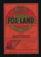 Ancienne Etiquette  Rhum Fox Land Carte Orange Martinique  St Laurent Du Var - Rhum