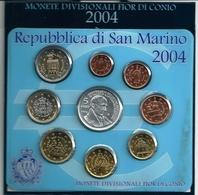 2004 San Marino - DIVISIONALE FDC - N.° 9 Pezzi In Euro - Con 5 € Argento Argent Silver - Borghesi  Confezione (3 F - San Marino