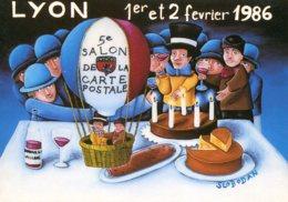 69 - Lyon : 5éme Salon De La Carte Postale - 1er Et 2 Février 1986 - Dessin Slobodan - Bourses & Salons De Collections