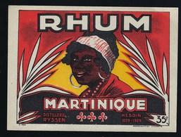 """Ancienne Etiquette  Rhum  Martinique Distillerie Ryssen Hesdin """"femme Coiffe"""" - Rhum"""