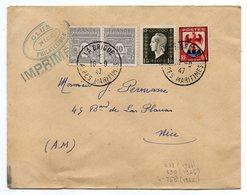 """1947--Lettre De LA BRIGUE-06  Pour NICE-06--tarif """"IMPRIMES""""--timbres--cachets - Marcophilie (Lettres)"""