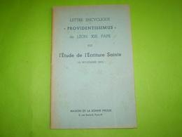 """Pape Léon XIII ; Lettre Encyclique """"providentissimus""""  étude De L'écriture Sainte. 1893 - Religion"""