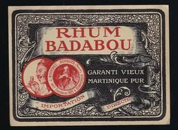 """Ancienne Etiquette  Rhum Badabou Garanti Vieux  Martinique Pur J Bouchez Bergues  Maison Fondée En 1821 """"visage Homme"""" - Rhum"""