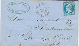 """BOÎTE SUPPLÉMENTAIRE URBAINE """" A"""" - Lettre Romilly-sur-Seine 16 Décembre 1859 Pour Bar-sur-Aube N°14A Type I - Marcophilie (Lettres)"""