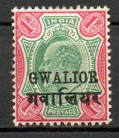 GWALIOR - (Protectorat Britannique) - 1903-04 - N° 44 - 1 R. Carmin Et Vert - (Edouard VII) - India (...-1947)