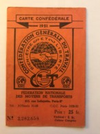 Carte Confederale CGT - Syndicat Du Personnel De La RATP Metro + Bus  Paris - Année 1951 - Maps