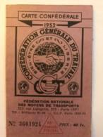 Carte Confederale CGT - Syndicat Du Personnel De La RATP Metro + Bus  Paris - Année 1952 - Cartes