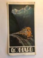 Dépliant Touristique Du GOTHARD Avec Carte Géographique Du Parcours Du Train De Suisse (Basel) Jusqu'en Italie (Como) - Dépliants Touristiques