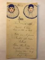 Menu Dessiné à La Main Signé F.B. - Colombine Et Arlequin - Non Daté Mais Probablement Années 1920 - Menú