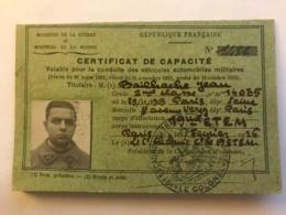 Certificat De Capacité Du Conducteur Bailhache Du 19e Escadron Du Train à Paris En 1927 - Colonel Chapuis - Manuscrits