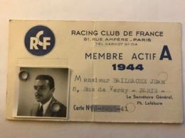 Carte De Membre Actif En 1944 Du Racing Club De France à Paris  Jean Bailhache - Manuskripte