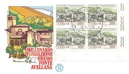 Italia 1980 - Fondazione Eremo Di Fonte Avellana - Quartina AF FDC Non Viaggiata - Francobolli