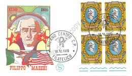 Italia 1980 - Filippo Mazzei - Quartina BF FDC Non Viaggiata - Francobolli