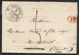 1836 - LAC - Fleurons Type 12 MIREPOIX ( ARIEGE ) Pour MONTPELLIER. 1 Déc Taxe .Boite Rural O . TB - Poststempel (Briefe)