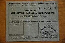 Rationnement - Ocrpi Billet D'alcool Dénaturé / Section Chimie - Documenti Storici