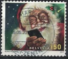 Suisse 2017 Oblitéré Used Santa Claus Père Noël Avec Smarthphone SU - Suisse