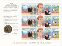 Marshall Islands 1988 MNH Sc #204a Sheet Of 3 Strips John F Kennedy - Marshall
