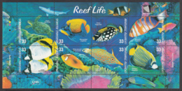 Marshall Islands 2000 MNH Sc #751 Sheet Of 8 Turtle, Angelfish, Buterflyfish Reef Life - Marshall