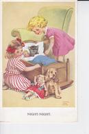 ( NIGHT - NIGHT )Deux Petites Filles Bordant Le Chaton Et Les Poupées , Chien Au Bord Du Berceau ( Glays- Ann Couch ) - Illustratoren & Fotografen