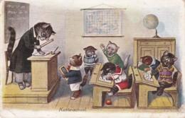 Chats Habillés - Salle De Classe - Ecole - Pupitre - Mappemonde - Chat Habillé Et Humanisé  1930  ( Lot Pat 42) - Katzen