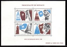 Monaco 1988 MNH Sc #1640 Tennis, Table Tennis, Yachting, Cycling Seoul Summer Olympics - Monaco