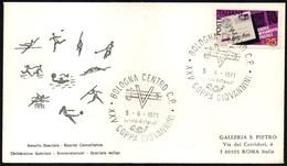 FENCING - ITALIA BOLOGNA 1971 - COPPA GIOVANNINI DI SCHERMA - BOLLO ARRIVO: BUONO RISPARMIO POSTALE - Scherma