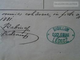 ZA172.2 Old Document -  Slovakia   LADCE - LÉDEC Lédecz - Turcsányi Ignácz -Steiner Leopoldina 1881 - Naissance & Baptême