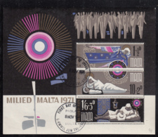 Malta 1971 Used Sc #B9a Angel, Madonna And Child, Shepherd Christmas - Malte