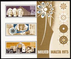 Malta 1973 MNH Sc #B15a Singers, Organ, Virgin And Child, Star, Tambourine, Candles Christmas - Malte