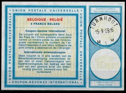 BELGIQUE / BELGIE Type XIX 8 FRANCS BELGES Intern. Reply Coupon Reponse IAS IRC Antwortschein O TURNHOUT 15.9.69 - Ganzsachen