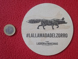 SPAIN POSAVASOS RARE COASTER MAT CIDER SIDRA LADRÓN DE MANZANAS IMAGEN ANIMAL ZORRO ? FOX ? LOBO ? WOLF ? BEBIDA VER FOT - Portavasos
