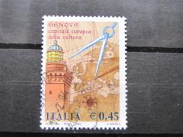 *ITALIA* USATI 2004 - GENOVA 2004 CAPITALE EUROPEA CULTURA - SASSONE 2741 - LUSSO/FIOR DI STAMPA - 6. 1946-.. Repubblica